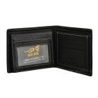 Stylish Genuine Leather Folded Wallet Purse for Men - Black