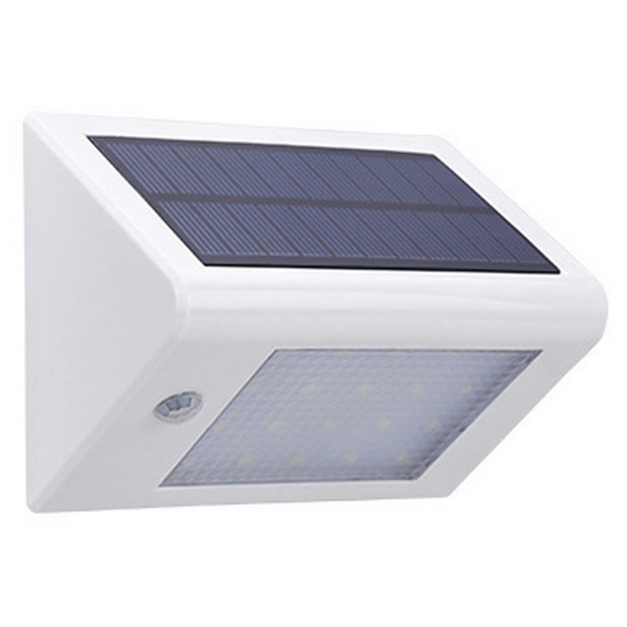 0.9W White Light Human Body Induction Solar Wall Lamp Aisle LampSolar Lamps<br>Form  ColorWhite + BlackMaterialPlastic ABSQuantity1 DX.PCM.Model.AttributeModel.UnitWaterproof LevelIP65Emitter TypeLEDPower0.9 DX.PCM.Model.AttributeModel.UnitWorking Voltage   3.7 DX.PCM.Model.AttributeModel.UnitWorking Current300 DX.PCM.Model.AttributeModel.UnitBattery Capacity2200 DX.PCM.Model.AttributeModel.UnitLumens200 DX.PCM.Model.AttributeModel.UnitBattery Charging Time6-8Working Time10-12 DX.PCM.Model.AttributeModel.UnitOther Features20 Beads; 6000-6500K, white light.Packing List1 x Solar light<br>