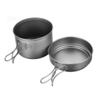 Fire-Maple Outdoor Camping Picnic Cooking Titanium Saucepan Pot Pan Set for 1~2 Person - Silver Grey