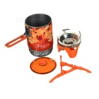 Fire-Maple Outdoor Portable Heat Collecting Camping Pot + Stove Set - Orange + Silver + Multicolor