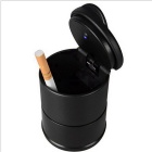 ZIQIAO Portable Car Ashtray w/ LED Light - Black