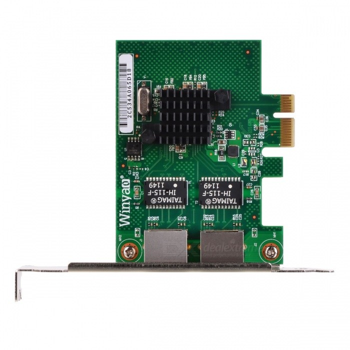 Winyao Dual-Port RJ45 Gigabit Ethernet PCI Network Card Adapter - GreenNetwork Cards<br>Form ColorGreenQuantity1 DX.PCM.Model.AttributeModel.UnitMaterialABSShade Of ColorGreenFrequency Range2.4GHzInterfaceRJ45,PCI-ETransmission Rate10,100,1000 DX.PCM.Model.AttributeModel.UnitChipsetBroadcom bcm5720AntennaNoSupports SystemWin xp,Win 2008,Win vista,Win7 32,Win7 64,Win8 32,Win8 64,Linux,Others,FreeBSD, vSphere, XenServer, VMware ESXIPacking List1 x Network card 1 x CD 1 x Low profile bracket<br>