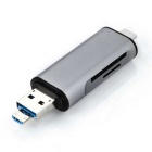 Multi-function 2-in-1 USB-A-Micro Type-C TF / SD Card Reader - Grey