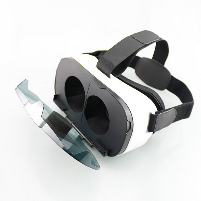 FIIT VR 3D Virtual Reality Glasses Lightweight Helmet for iOS / Android / Microsoft - Black + White