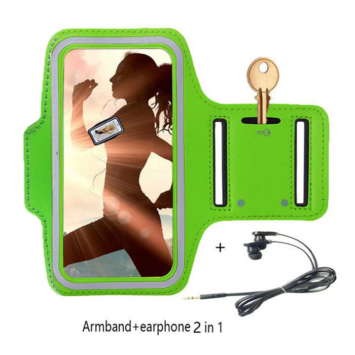 "Double Buckle Sports Armband Bag Case + Earphones for IPHONE 6 / 6S 4.7"" - Green"