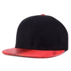 Snakeskin Pattern Hip-Hop Baseball Flat Peak Cap Hat - Red + Black