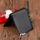Stylish Top Layer Cowhide Leather Folded Wallet Purse for Men - Black