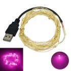 JIAWEN USB 5M Waterproof Flexible 3W 240lm 50-0603 SMD Pink Light LED String Light - Silver (DC 12V)