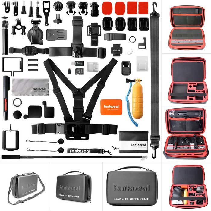 "Fantaseal AIO-1350P 50-in-1 Camera Accessories Kit w/ 13"" Waterproof Case for GoPro - Black + Red"