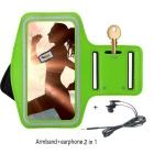 "Double Buckle Sports Armband Bag Case + Earphones for Samsung Galaxy J7 5.5"" - Green"