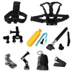 Chest Strap Head Mount Monopod Accessories Kit for GoPro - Black