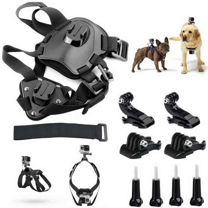 Pet Dog Harness Chest Shoulder Strap Mount cinto para GoPro herói + Camera - Black