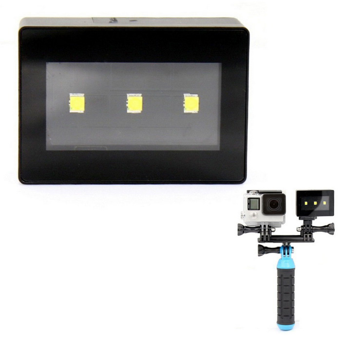 Супер свет камеры 3-LED Night Diving Fill Light для GoPro Hero 3/3 + / 4 / SJ4000 - черный