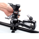 Multifunctionele Dual Clips Roterende Bicycle Stand Mount houder voor GSM & Flashlight - Zwart