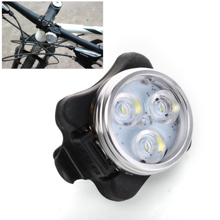 Mini White Light 4-Mode Waterproof USB Rechargeable LED Bicycle LightBike Light<br>Form  ColorBlack + WhiteQuantity1 DX.PCM.Model.AttributeModel.UnitMaterialAluminium alloyEmitter BINLEDColor BINCold WhiteNumber of Emitters3Input Voltage3.7 DX.PCM.Model.AttributeModel.UnitBatteryPN803030Battery included or notYesCurrent650 DX.PCM.Model.AttributeModel.UnitRuntime3~5 DX.PCM.Model.AttributeModel.UnitNumber of Modes4Mode ArrangementHi,Mid,Slow Strobe,Fast StrobeSwitch TypeClicky SwitchSwitch LocationHeadStrap/ClipClip includedApplicationSeat PostWaterproofYesPacking List1 x Bicycle light<br>