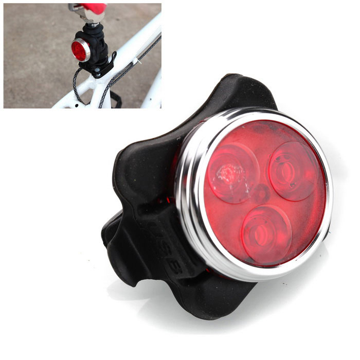 Red Light 4-Mode Waterproof USB Rechargeable LED Bicycle TaillightBike Light<br>Form  ColorBlack + RedQuantity1 pieceMaterialAluminium alloyEmitter BINLEDColor BINRedNumber of Emitters3Input Voltage3.7 VBatteryPN803030Battery included or notYesCurrent650 mARuntime3~5 hourNumber of Modes4Mode ArrangementHi,Mid,Slow Strobe,Fast StrobeSwitch TypeClicky SwitchSwitch LocationHeadStrap/ClipClip includedApplicationSeat PostWaterproofYesPacking List1 x Bicycle taillight<br>