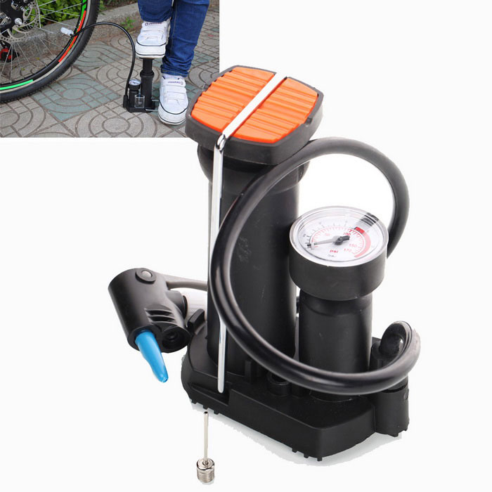 High-pressure Bicycle Pump Pedal Cycling Pump Straddling Inflator PumpBike Tool<br>Form  ColorBlack + WhiteQuantity1 setMaterialHigh strength plasticLength53 cmTypePumpsOther FeaturesErgonomic stick; Max pression: 7bar Best universal pump head for losfollowing; Valves: schrader, presta, blitz. Include an adaptor for aire mattress and inflatable toys.Packing List1 x High pressure inflator2 x Special air faucets<br>