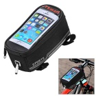 "CTSmart Water-Resistant Touch Screen Bike Top Tube Bag w/ Reflective Strip for 5.5"" Phones - Black"