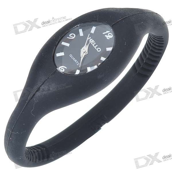 Silicone Quartz Sports Wristwatch - Black (1*626 Included)