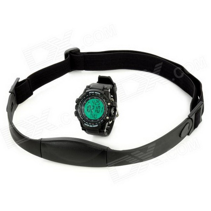 Sport PU-Band Digital Wireless-Puls-Uhr w / Pedometer / Kalender / Alarm - Schwarz (1 * CR2032)