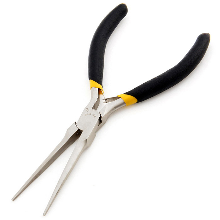 5*125mm Slender Needle-Nosed Pliers - Silver White + Black