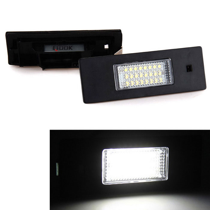 Qook 24-3528 SMD LED 6500K White License Plate Light Tail Lamps for BMW E64 E81 - Black (2PCS)