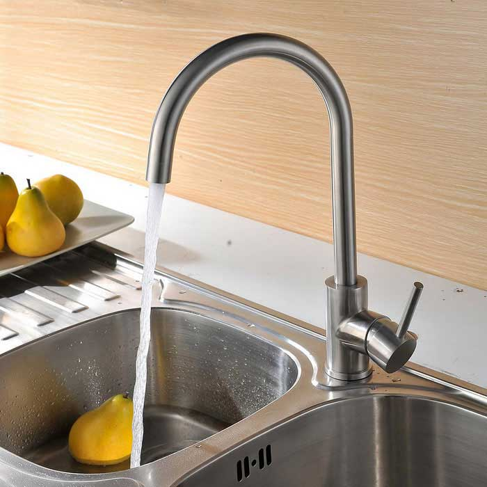 304 Stainless Steel 360° Rotatable Kitchen Sink Faucet - Silver