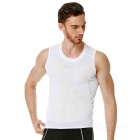 NUCKILY Men's Outdoor Cycling Quick-drying Breathable Base Shirt Vest - White (L)