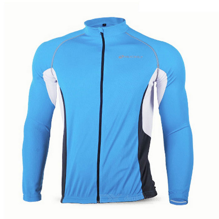 NUCKILY MH008 Quick-drying Breathable Reflective Long-sleeve Cycling Jersey - Blue + Black (M)