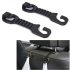 ZIQIAO Portable Car Back Seat Headrest Hanger Holder Hooks for Bag Purse Cloth Grocer - Black (2PCS)