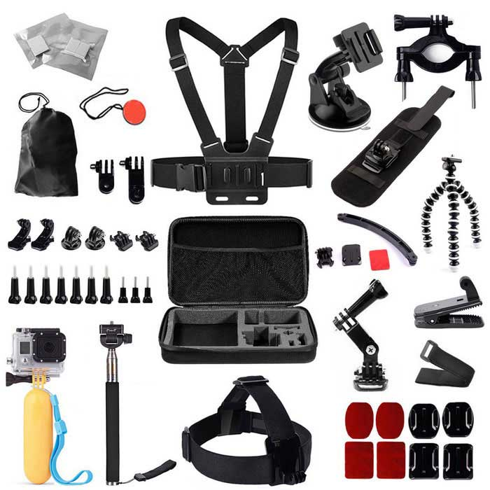 Chest Strap Head Mount Monopod Accessories Kit w/ Storage Case for GoPro Hero / Sj4000 - BlackOther GoPro Accessories<br>Form  ColorBlackQuantity1 DX.PCM.Model.AttributeModel.UnitMaterialPlasticShade Of ColorBlackPacking List1 x Carrying Case1 x Chest Strap1 x Head Belt Strap1 x Extendable Monopod1 x Suction Cup Mount Holder1 x Floating Handle Grip1 x Large Motorcycle Bracket12 x Anti-fog Inserts1 x Pouch1 x Strap1 x Safety Buckle2 x Hinges1 x 360-degree Wrist Strap2 x Gopro Surface J-Hooks2 x Triangles2 x Buckles7 x Long Screws for GoPro 3 x Short Screws for GoPro1 x Mini Tripod1 x Helmet Extension Arm1 x 360-degree Rotation Clip1 x Adapter2 x Curved Adhesive Mounts2 x Flat Adhesive Mounts2 x Curved Surfaces2 x Flat Surfaces<br>