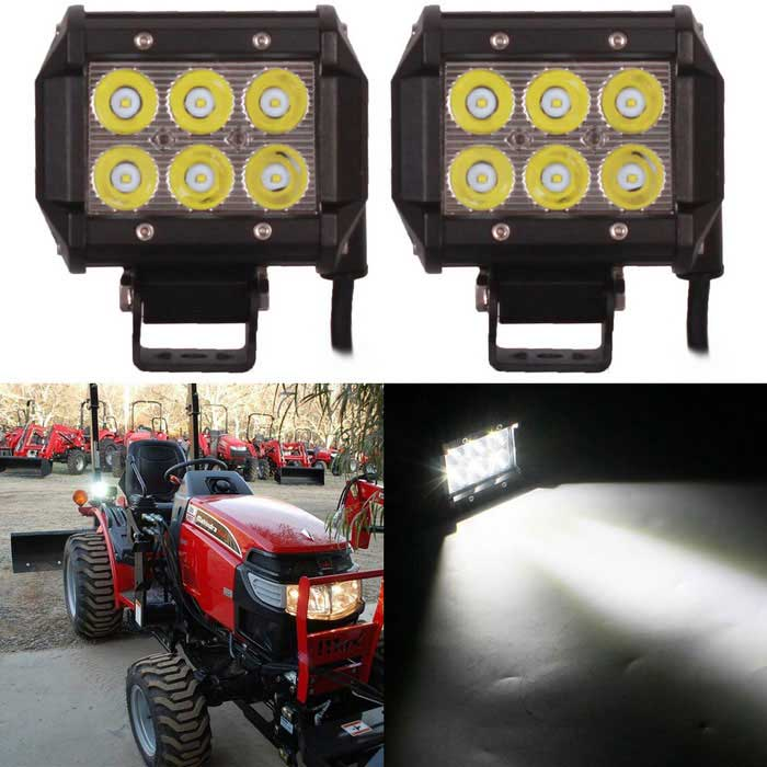 18W 6-LED White Spot Light / Offroad Car Light Bar / Working Lamp (2PCS / DC 10~30V)