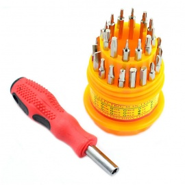Jtron 31-in-1 Multi-Function Screwdriver Bits Set - Silver + Red