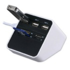 3-USB 2.0 + MS / SD / M2 / TF Card Reader USB Combo Hub - White