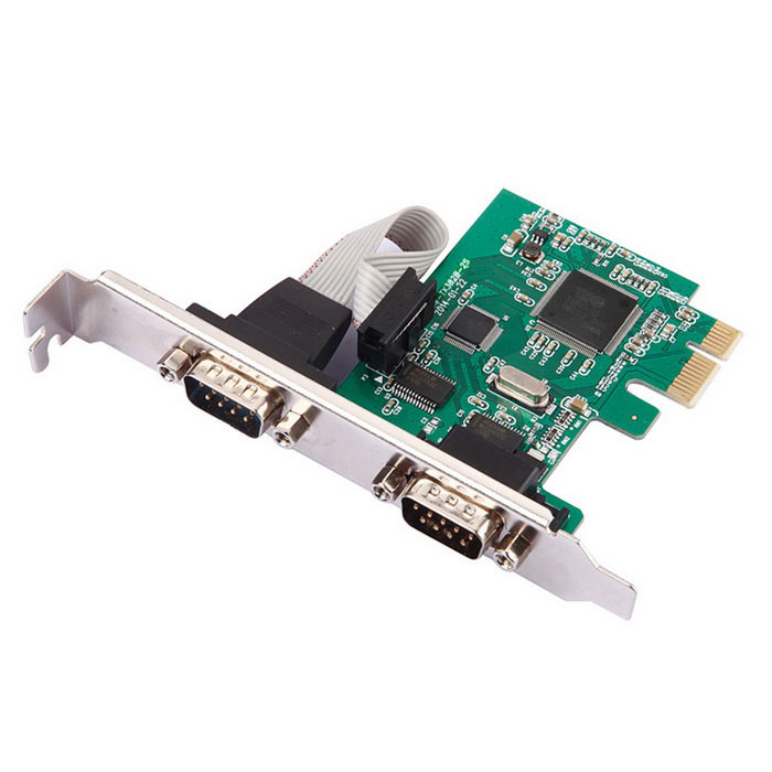 PCI Express para 2-Port DB-9 serial (RS-232) Adaptador de placa controladora