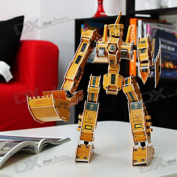 DIY 3D Metabots Paper Model - Patton (Yellow)