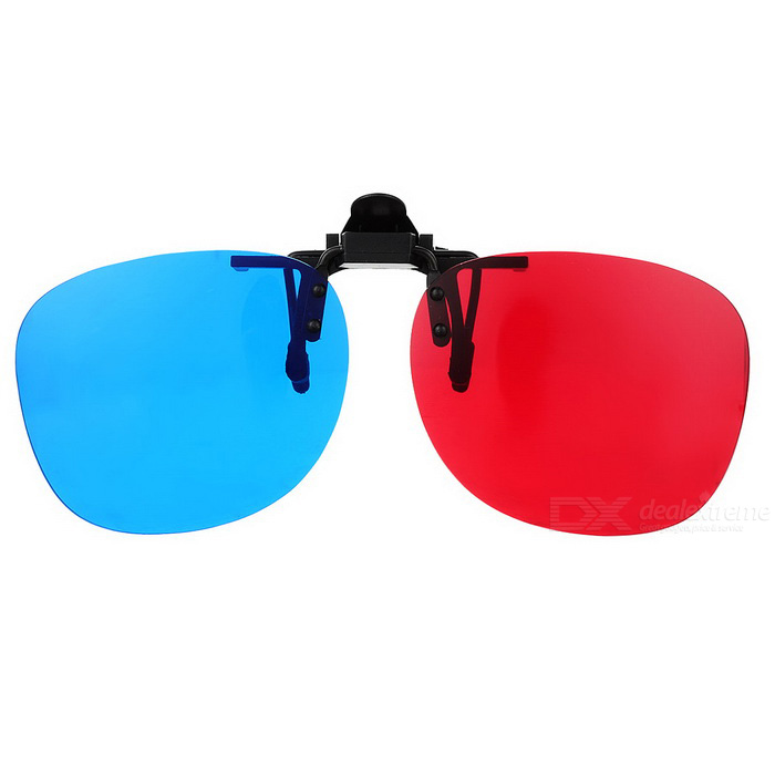 Clip-On Type 3D Virtual Reality Glasses - Red + Blue