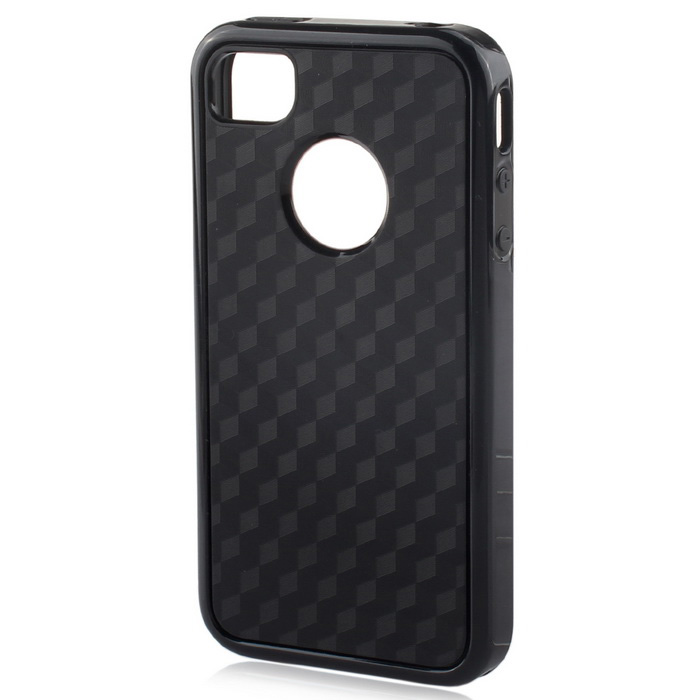 Stylish 3D Carbon Fiber Style Protective Back Case for IPHONE 4 / 4S - Black