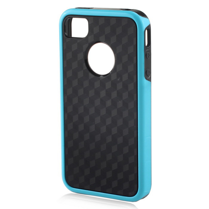 Stylish 3D Carbon Fiber Style Protective Back Case for IPHONE 4 / 4S - Black + BlueTPU Cases<br>Form ColorBlack + BlueQuantity1 DX.PCM.Model.AttributeModel.UnitMaterialOthers,TPU + PCCompatible ModelsIPHONE 4,IPHONE 4SDesignGeometric TextureStyleBack CasesPacking List1 x Back Case<br>