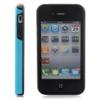 Stylish 3D Carbon Fiber Style Protective Back Case for IPHONE 4 / 4S - Black + Blue