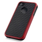 Stylish 3D Carbon Fiber Style Protective Back Case for IPHONE 4 / 4S - Black + Red