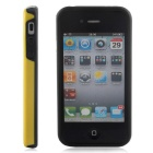 Stylish 3D Carbon Fiber Style Protective Back Case for IPHONE 4 / 4S - Black + Yellow