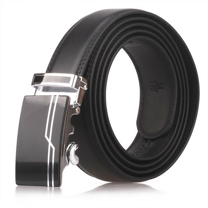 Fanshimite D02 Men's Automatic Buckle Cow Split Leather Belt - Black (130cm)