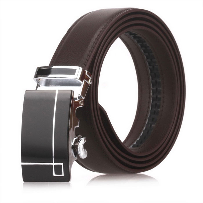 Fanshimite D01 Men's Automatic Buckle Cow Split Leather Belt - Brown (130cm)