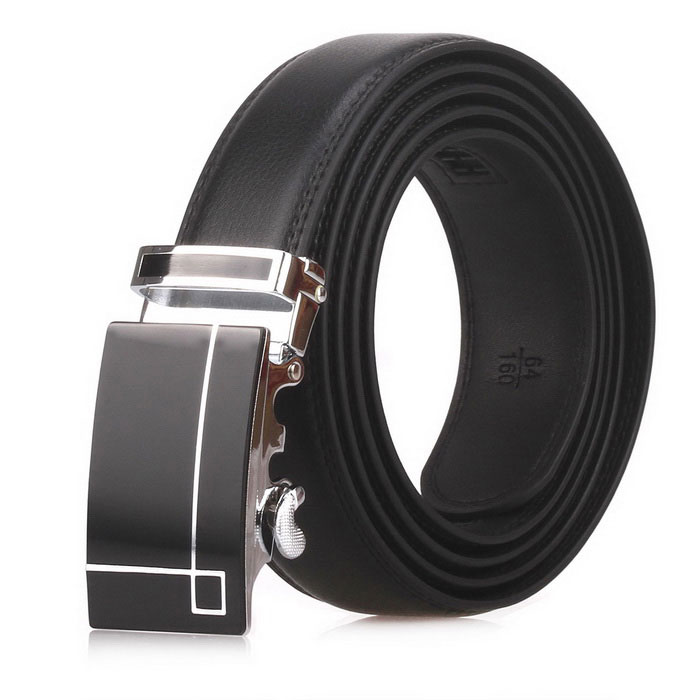 Fanshimite D01 Men's Automatic Buckle Leather Belt - Black (160cm)
