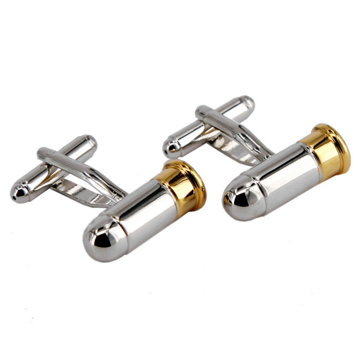 Jewelry Brass Material Bullet Shape Mens Cufflinks - Silver + Golden (Pair)Cufflinks<br>Form ColorSilver + GoldQuantity2 DX.PCM.Model.AttributeModel.UnitShade Of ColorSilverMaterialJewelry brassPacking List2 x Cufflinks<br>