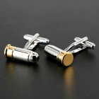Jewelry Brass Material Bullet Shape Men's Cufflinks - Silver + Golden (Pair)