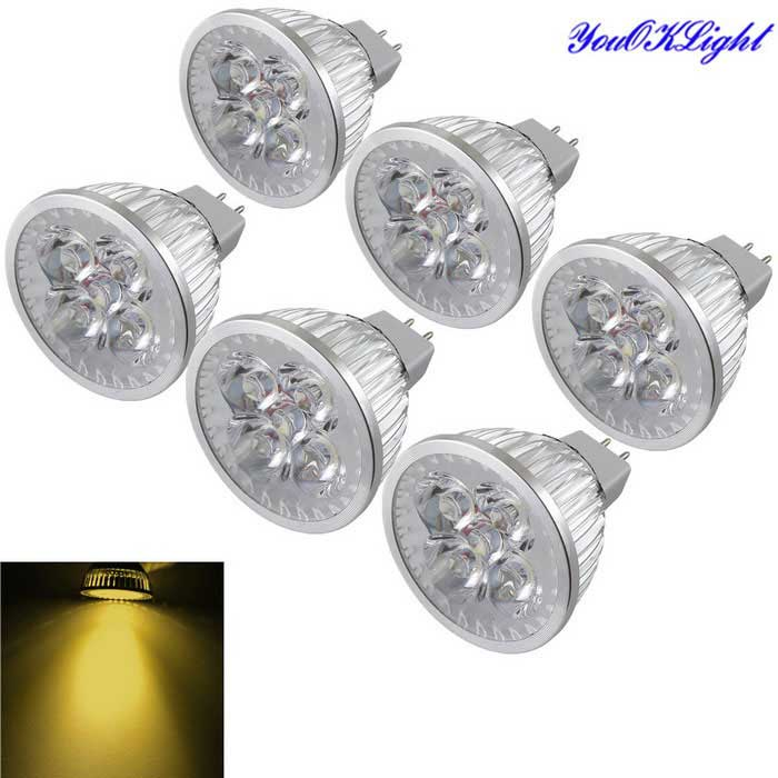 YouOKLight MR16 4W 4-LED Proyector blanco caliente 3000K 360lm (6 PCS)