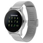 K88H Round Screen Stainless Steel Strap IP54 Smart Watch w/ Heart Rate, Sleep Monitoring - Silver