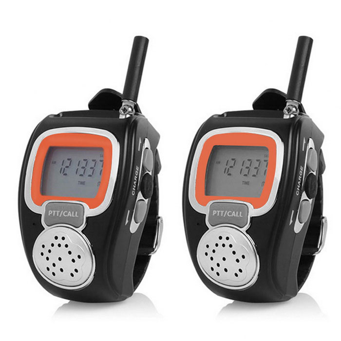 Wrist Watches Walkie Talkies w/ VOX, LCD Display, 2.5km Range, Multi Channels, Auto Squelch - BlackWalkie Talkies<br>Form ColorBlackModel-Quantity1 PieceMaterialABSFrequency Range450~470MHzChannel16Frequency Stability2.5 ppmOutput Power0.5 WWorking Voltage   3.7 VWorking Distance2.5kmEncryptionCTCSSBattery Capacity600 mAhStandby Time24 HourWorking Time3 HourPacking List2 x Watches Walkie Talkies2 x Power Adapters (1m)2 x Batteries2 x Headsets (1m)1 x User Manual (English)<br>